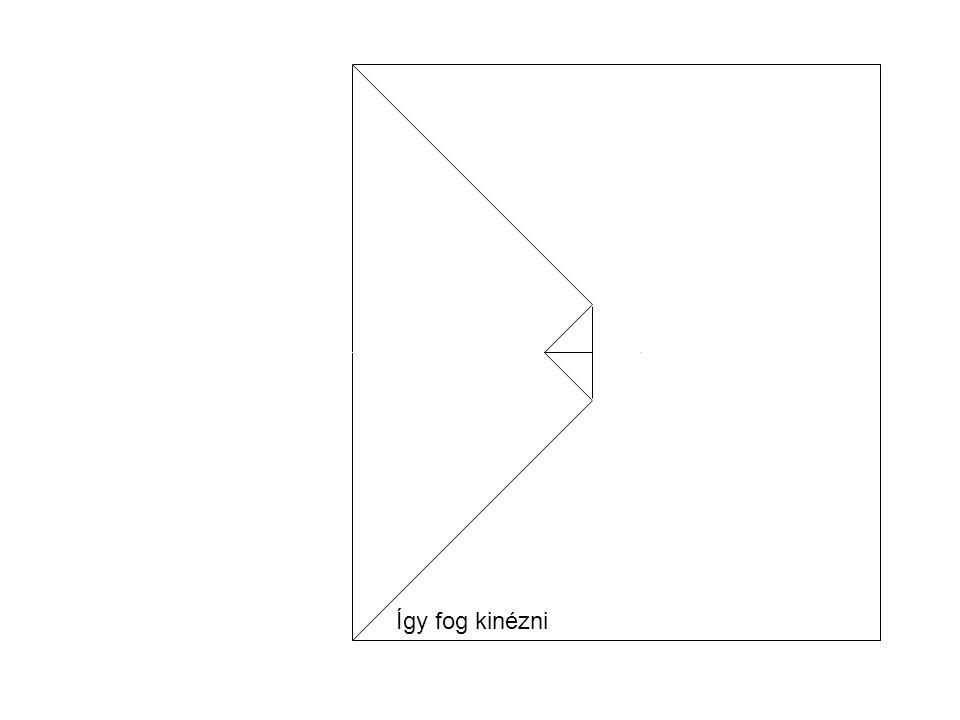"""A B Az """"A csücsköt óvatosan és pontosan behajtjuk a ferde piros hajtásvonallal jelzett helyen úgy, hogy az """"A pont a kis fül alá, a középvonalra, a piros körrel jelzett pontba kerüljön, a behajtott A- A1 él pedig a felhajtott fül szélénél legyen."""