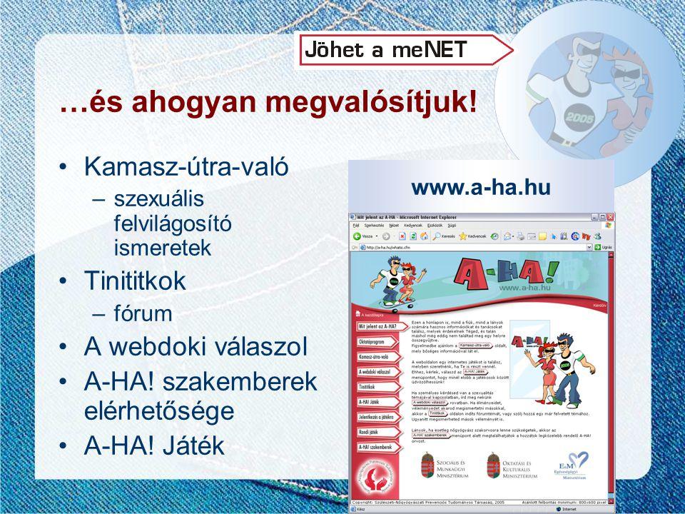 www.a-ha.hu …és ahogyan megvalósítjuk! •Kamasz-útra-való –szexuális felvilágosító ismeretek •Tinititkok –fórum •A webdoki válaszol •A-HA! szakemberek