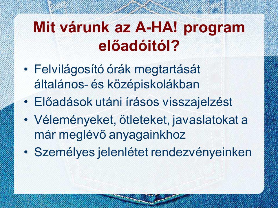 Mit várunk az A-HA! program előadóitól? •Felvilágosító órák megtartását általános- és középiskolákban •Előadások utáni írásos visszajelzést •Véleménye