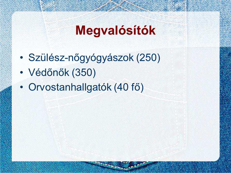 Megvalósítók •Szülész-nőgyógyászok (250) •Védőnők (350) •Orvostanhallgatók (40 fő)