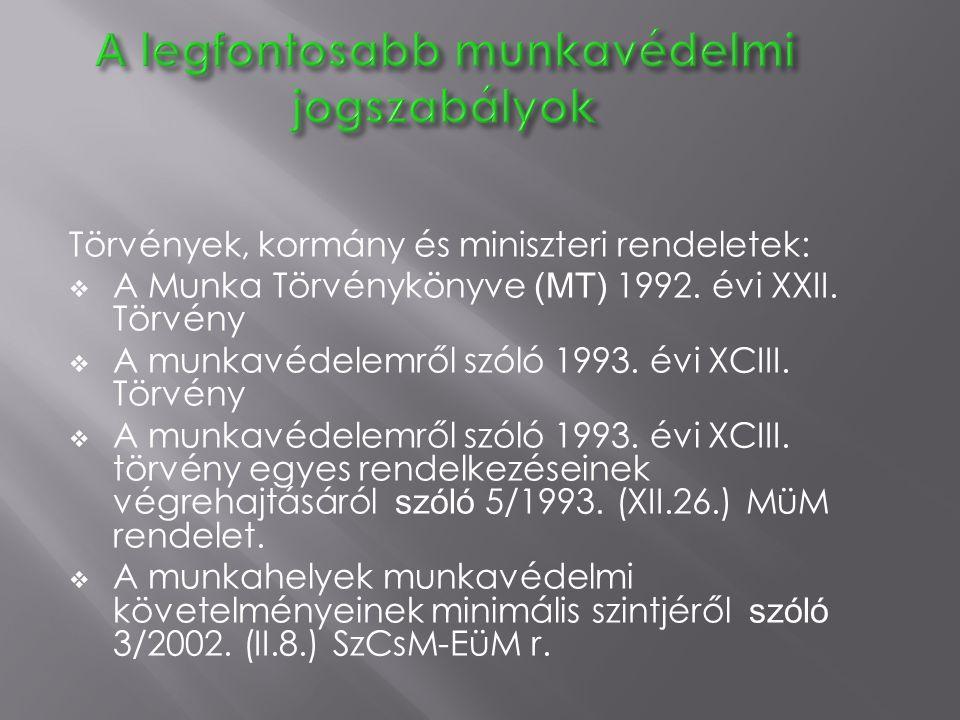 Törvények, kormány és miniszteri rendeletek:  A Munka Törvénykönyve (MT) 1992. évi XXII. Törvény  A munkavédelemről szóló 1993. évi XCIII. Törvény 