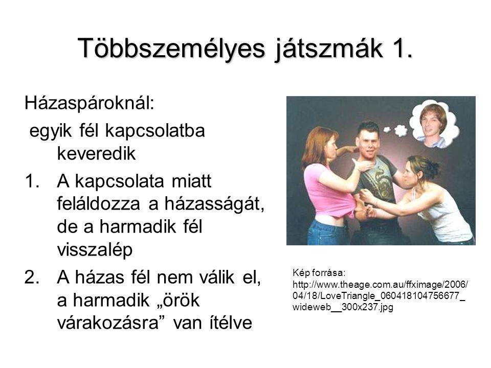 Többszemélyes játszmák 1. Házaspároknál: egyik fél kapcsolatba keveredik 1.A kapcsolata miatt feláldozza a házasságát, de a harmadik fél visszalép 2.A