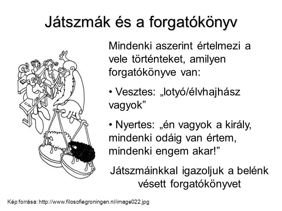 Játszmák és a forgatókönyv Kép forrása: http://www.filosofiegroningen.nl/image022.jpg Mindenki aszerint értelmezi a vele történteket, amilyen forgatók