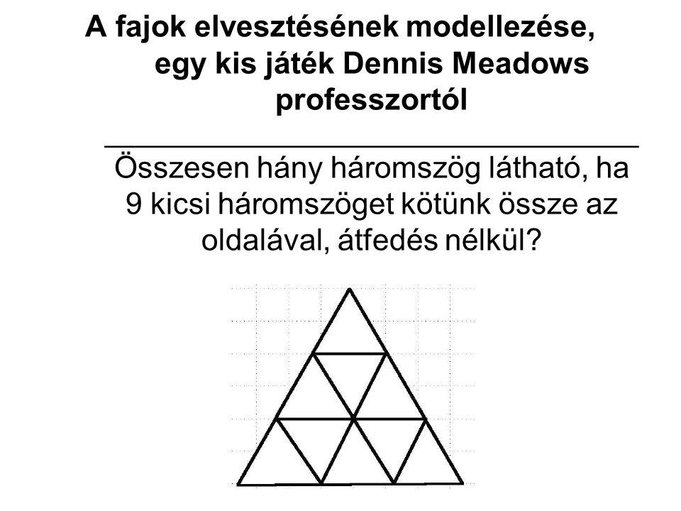 A fajok elvesztésének modellezése, egy kis játék Dennis Meadows professzortól ____________________________________ Összesen hány háromszög látható, ha