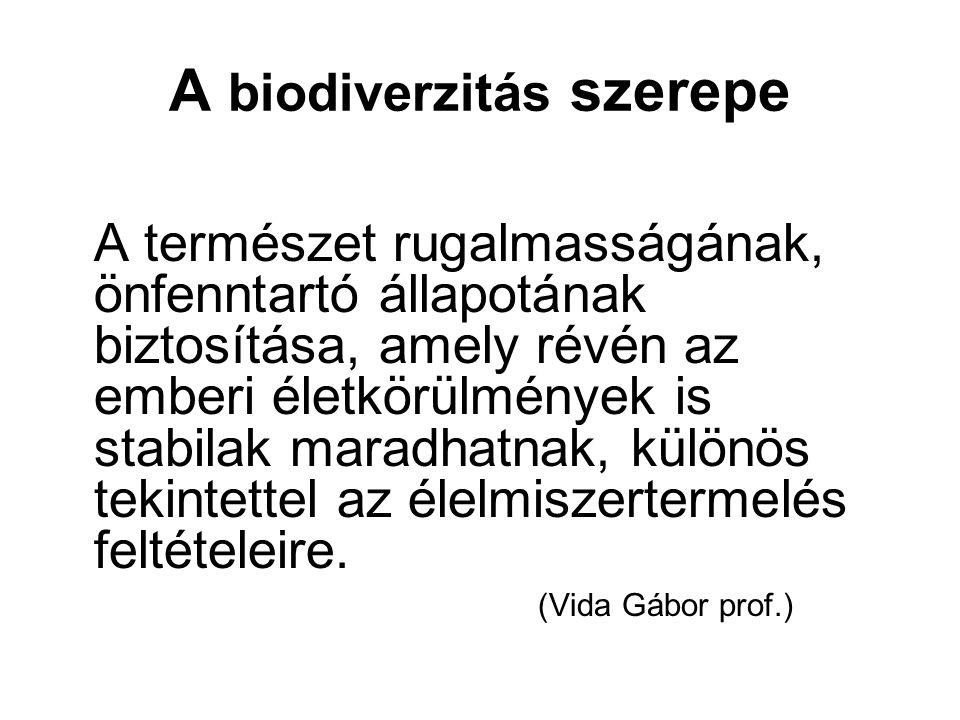 A biodiverzitás szerepe A természet rugalmasságának, önfenntartó állapotának biztosítása, amely révén az emberi életkörülmények is stabilak maradhatna