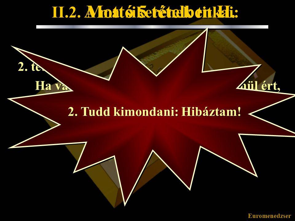 Euromenedzser Mottó 5 tételben II. 2. tétel: Ha valami másodszor is felkészületlenül ért, az előző esetből nem tanultál.