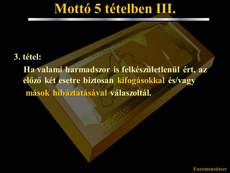 Euromenedzser Mottó 5 tételben II. 2. tétel: Ha valami másodszor is felkészületlenül ért, az előző esetből nem tanultál. 2. Tudd kimondani: Hibáztam!