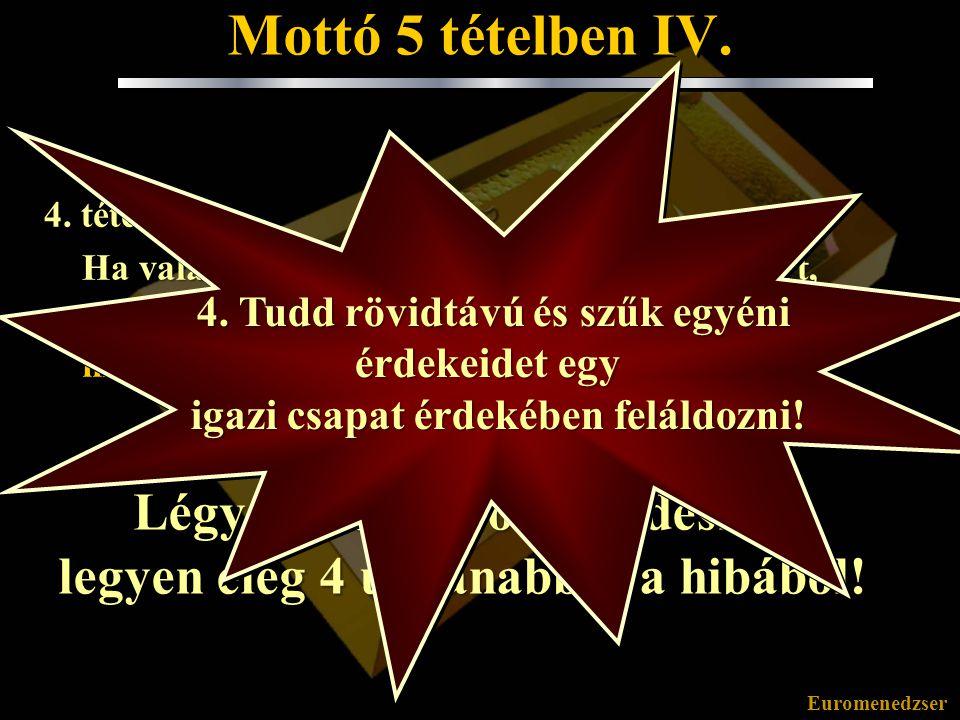 Euromenedzser Mottó 5 tételben III. 3. tétel: Ha valami harmadszor is felkészületlenül ért, az előző két esetre biztosan kifogásokkal és/vagy mások hi