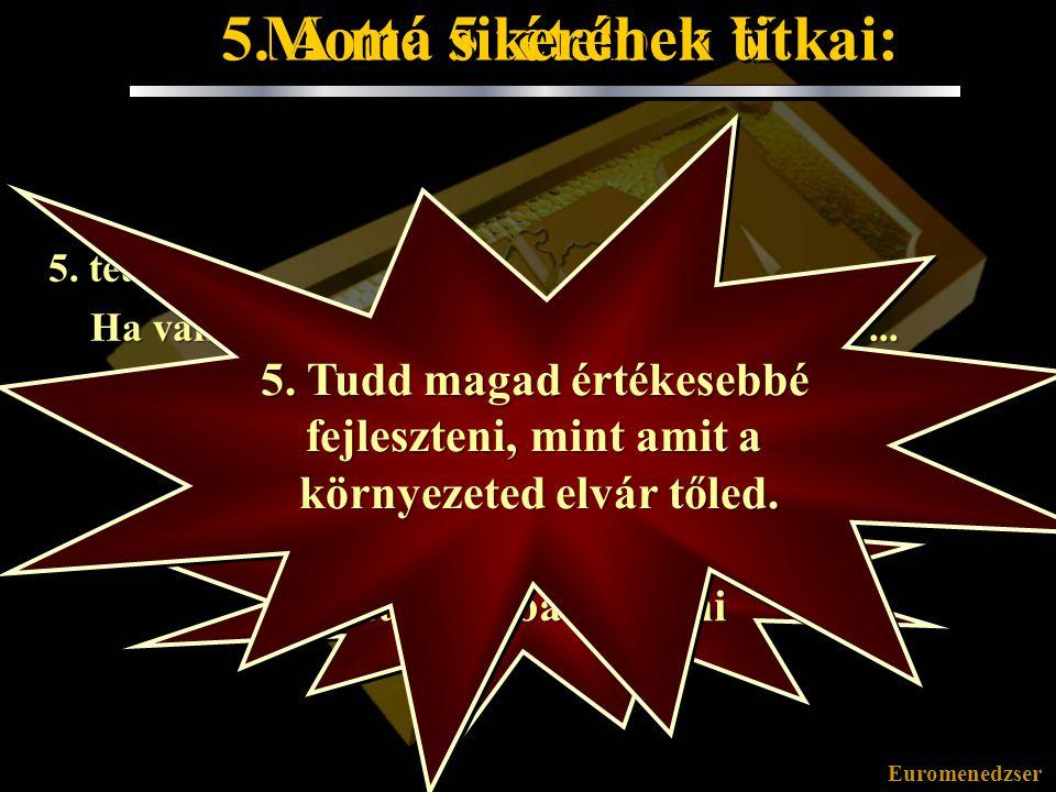Euromenedzser Mottó 5 tételben IV. 4. tétel: Ha valami negyedszerre is felkészületlenül ért, mások joggal csóválhatják a fejüket és talán még mosolyog