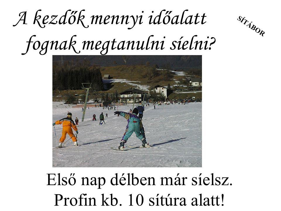SÍTÁBOR A kezdők mennyi időalatt fognak megtanulni síelni? Első nap délben már síelsz. Profin kb. 10 sítúra alatt!