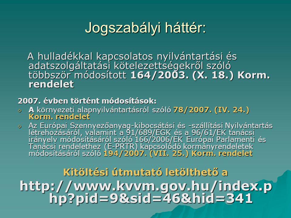Jogszabályi háttér: A hulladékkal kapcsolatos nyilvántartási és adatszolgáltatási kötelezettségekről szóló többször módosított 164/2003. (X. 18.) Korm