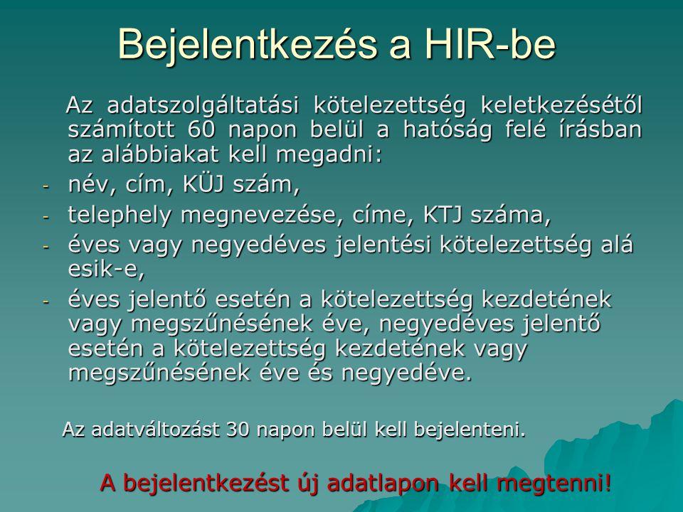 Bejelentkezés a HIR-be Az adatszolgáltatási kötelezettség keletkezésétől számított 60 napon belül a hatóság felé írásban az alábbiakat kell megadni: A