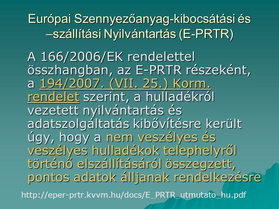Európai Szennyezőanyag-kibocsátási és –szállítási Nyilvántartás (E-PRTR) A 166/2006/EK rendelettel összhangban, az E-PRTR részeként, a 194/2007. (VII.