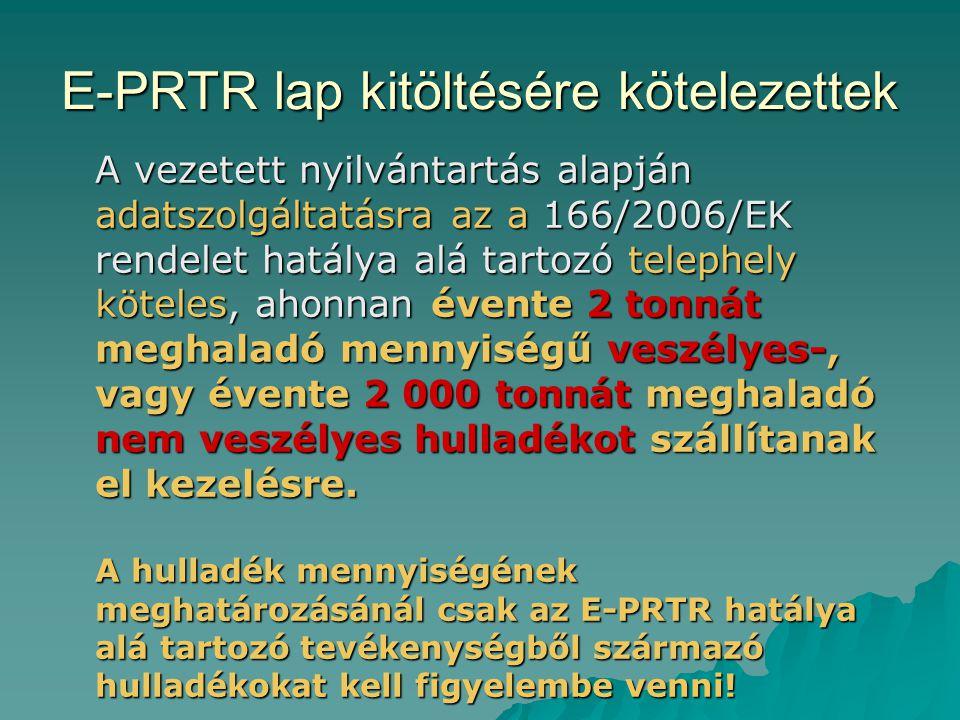 E-PRTR lap kitöltésére kötelezettek A vezetett nyilvántartás alapján adatszolgáltatásra az a 166/2006/EK rendelet hatálya alá tartozó telephely kötele