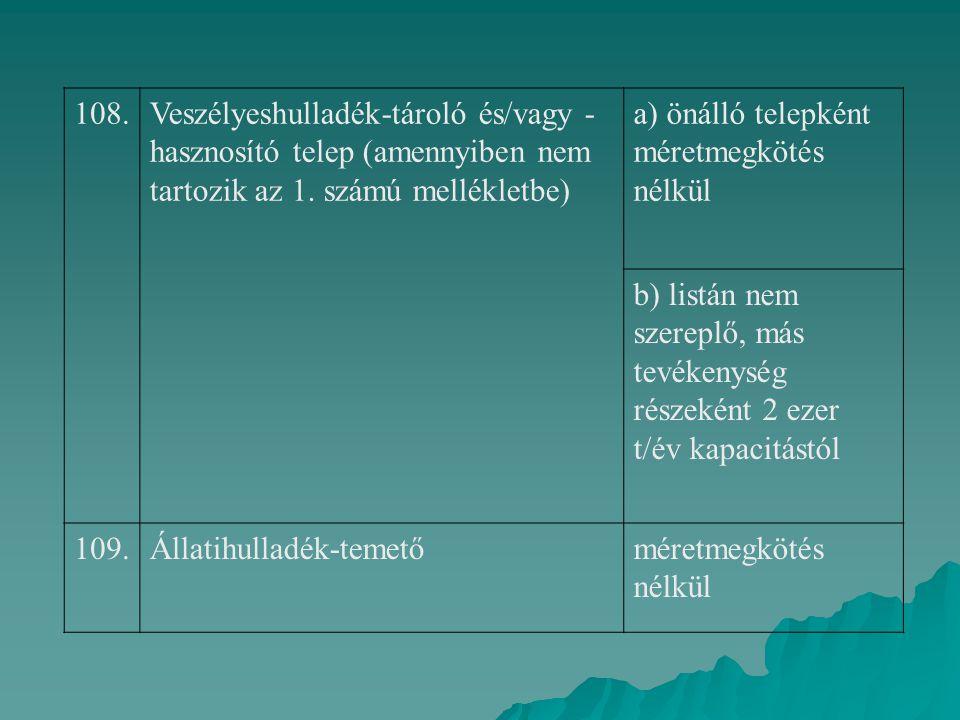 108.Veszélyeshulladék-tároló és/vagy - hasznosító telep (amennyiben nem tartozik az 1. számú mellékletbe) a) önálló telepként méretmegkötés nélkül b)