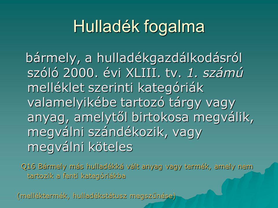 Hulladék besorolása A hulladékok jegyzékéről szóló 16/2001.