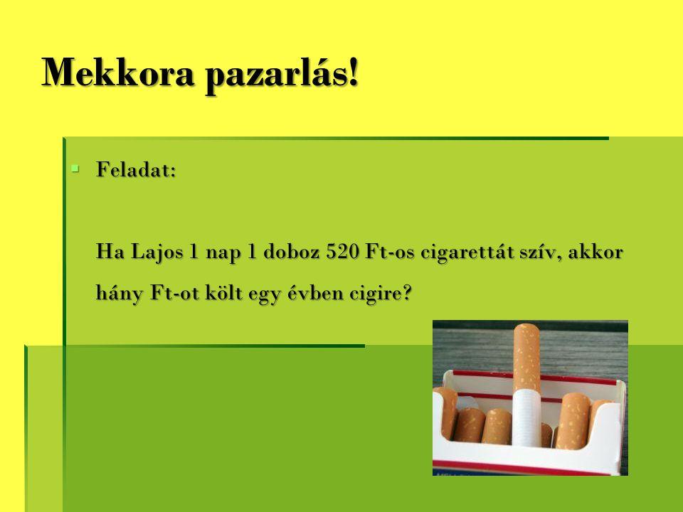 Mekkora pazarlás!  Feladat: Ha Lajos 1 nap 1 doboz 520 Ft-os cigarettát szív, akkor hány Ft-ot költ egy évben cigire?