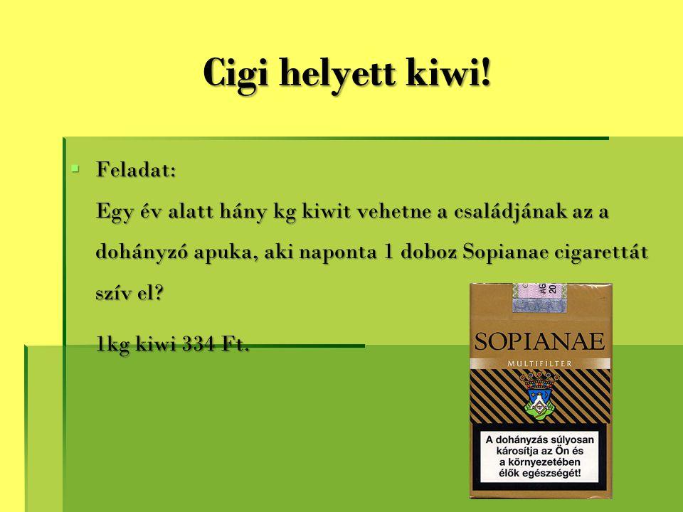 Cigi helyett kiwi!  Feladat: Egy év alatt hány kg kiwit vehetne a családjának az a dohányzó apuka, aki naponta 1 doboz Sopianae cigarettát szív el? 1