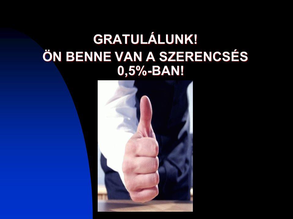 GRATULÁLUNK! ÖN BENNE VAN A SZERENCSÉS 0,5%-BAN!