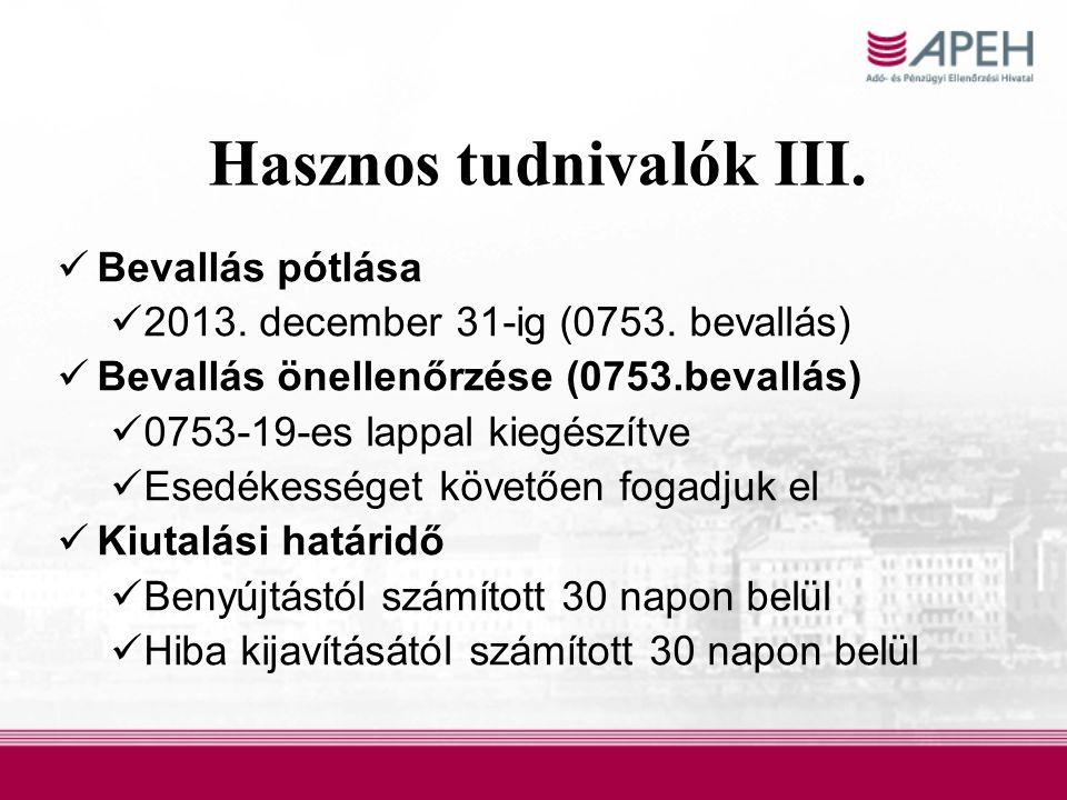 Hasznos tudnivalók III. Bevallás pótlása  2013.