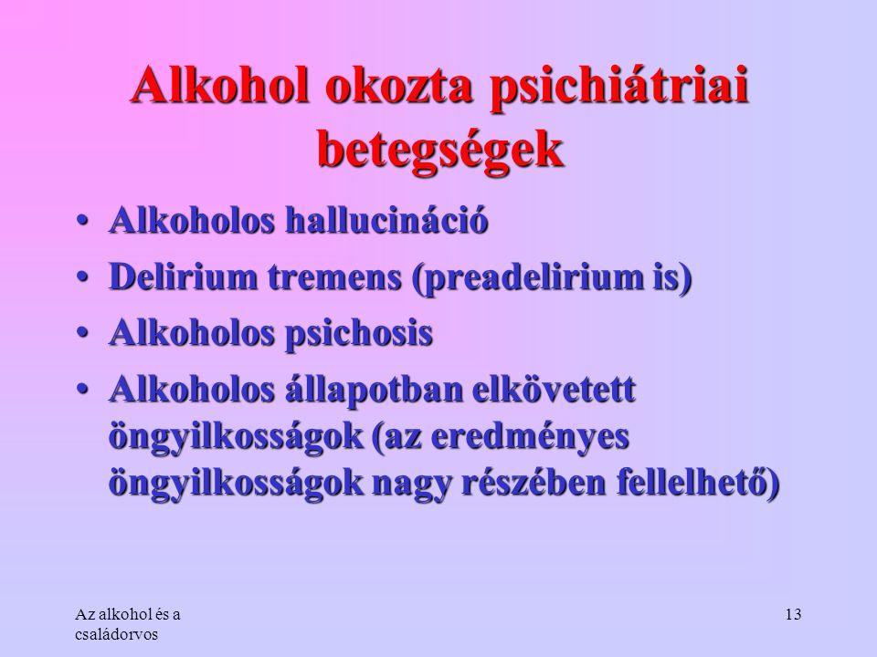 Az alkohol és a családorvos 13 Alkohol okozta psichiátriai betegségek •Alkoholos hallucináció •Delirium tremens (preadelirium is) •Alkoholos psichosis