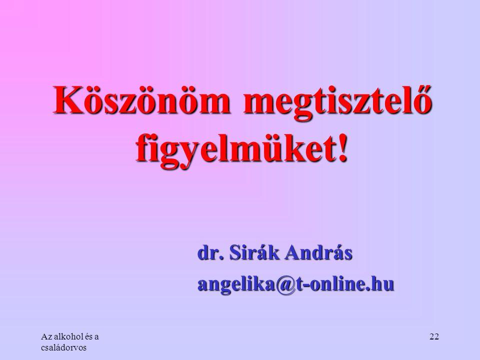 Az alkohol és a családorvos 22 Köszönöm megtisztelő figyelmüket! dr. Sirák András angelika@t-online.hu