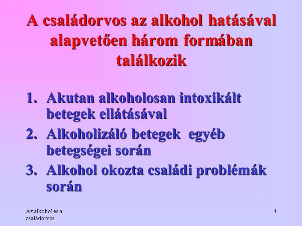 Az alkohol és a családorvos 4 A családorvos az alkohol hatásával alapvetően három formában találkozik 1.Akutan alkoholosan intoxikált betegek ellátásá