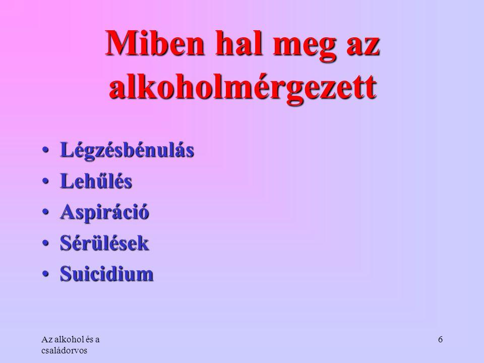 Az alkohol és a családorvos 6 Miben hal meg az alkoholmérgezett •Légzésbénulás •Lehűlés •Aspiráció •Sérülések •Suicidium
