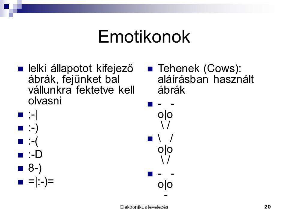 Elektronikus levelezés20 Emotikonok  lelki állapotot kifejező ábrák, fejünket bal vállunkra fektetve kell olvasni  ;-|  :-)  :-(  :-D  8-)  =|: