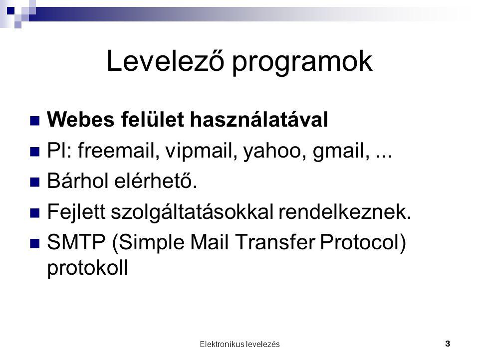 Elektronikus levelezés3 Levelező programok  Webes felület használatával  Pl: freemail, vipmail, yahoo, gmail,...  Bárhol elérhető.  Fejlett szolgá