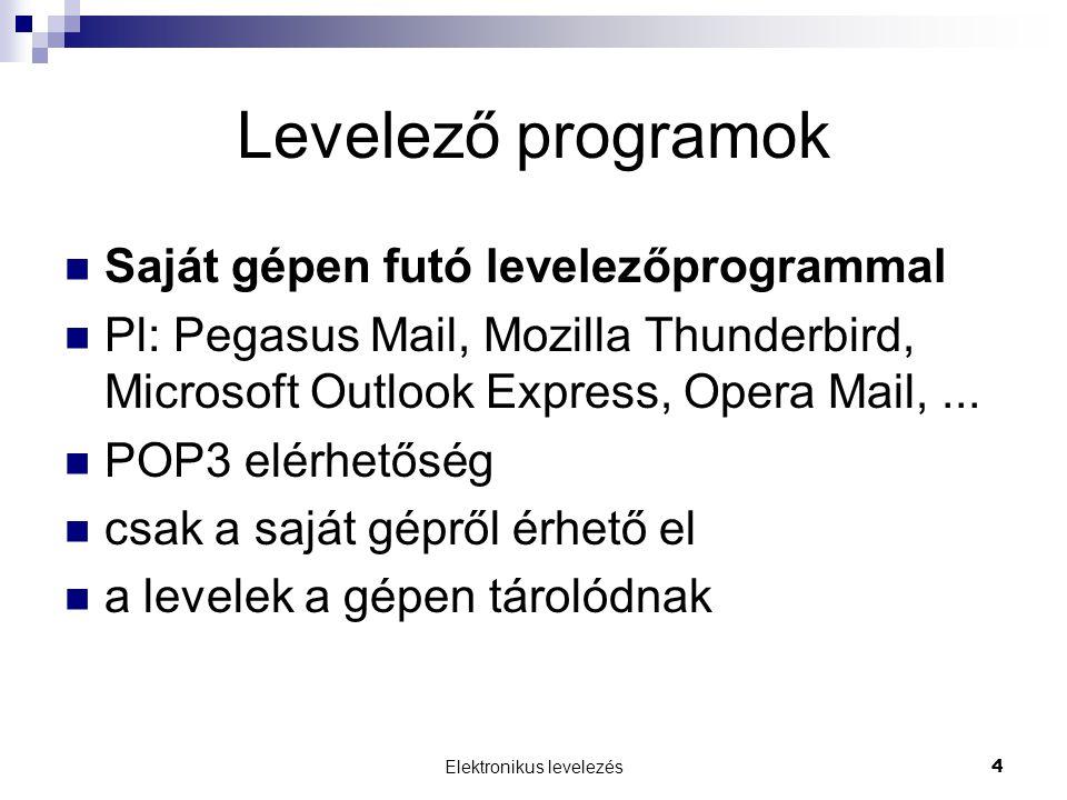 Elektronikus levelezés4 Levelező programok  Saját gépen futó levelezőprogrammal  Pl: Pegasus Mail, Mozilla Thunderbird, Microsoft Outlook Express, O
