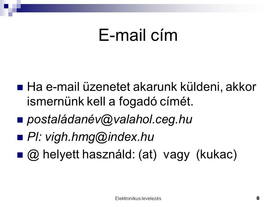 Elektronikus levelezés8 E-mail cím  Ha e-mail üzenetet akarunk küldeni, akkor ismernünk kell a fogadó címét.  postaládanév@valahol.ceg.hu  Pl: vigh