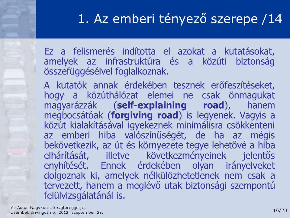 Az Autós Nagykoalíció sajtóreggelije, Zsámbék,drivingcamp, 2012. szeptember 25. 16/23 1. Az emberi tényező szerepe /14 Ez a felismerés indította el az
