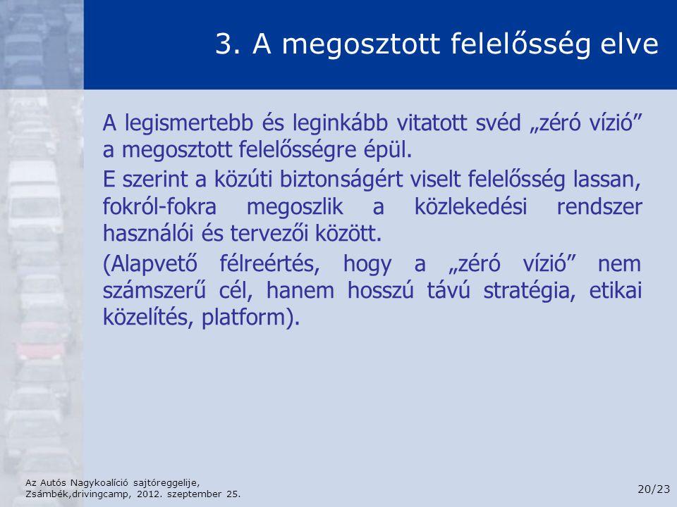 Az Autós Nagykoalíció sajtóreggelije, Zsámbék,drivingcamp, 2012. szeptember 25. 20/23 3. A megosztott felelősség elve A legismertebb és leginkább vita