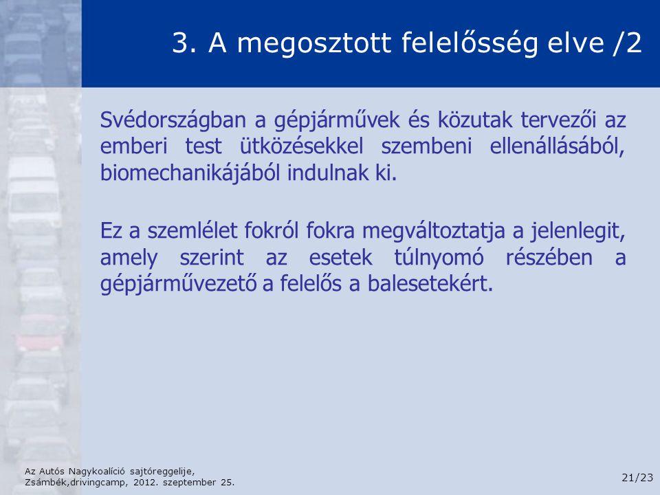 Az Autós Nagykoalíció sajtóreggelije, Zsámbék,drivingcamp, 2012. szeptember 25. 21/23 3. A megosztott felelősség elve /2 Svédországban a gépjárművek é