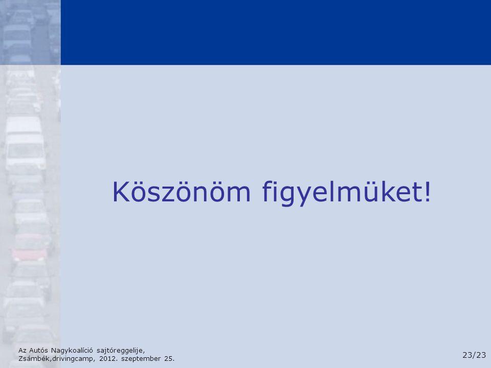 Az Autós Nagykoalíció sajtóreggelije, Zsámbék,drivingcamp, 2012. szeptember 25. 23/23 Köszönöm figyelmüket!