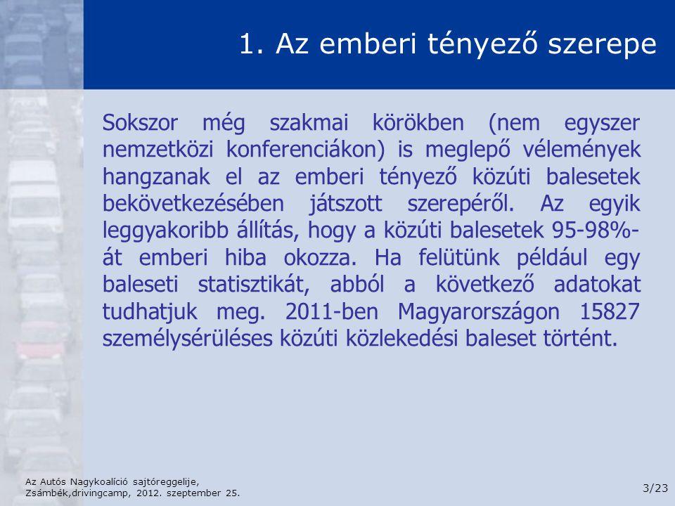Az Autós Nagykoalíció sajtóreggelije, Zsámbék,drivingcamp, 2012. szeptember 25. 3/23 1. Az emberi tényező szerepe Sokszor még szakmai körökben (nem eg