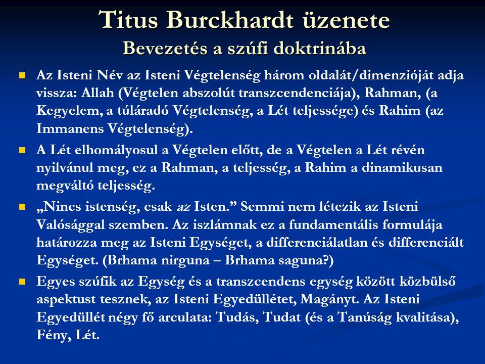Titus Burckhardt üzenete Bevezetés a szúfi doktrinába   Az Isteni Név az Isteni Végtelenség három oldalát/dimenzióját adja vissza: Allah (Végtelen a