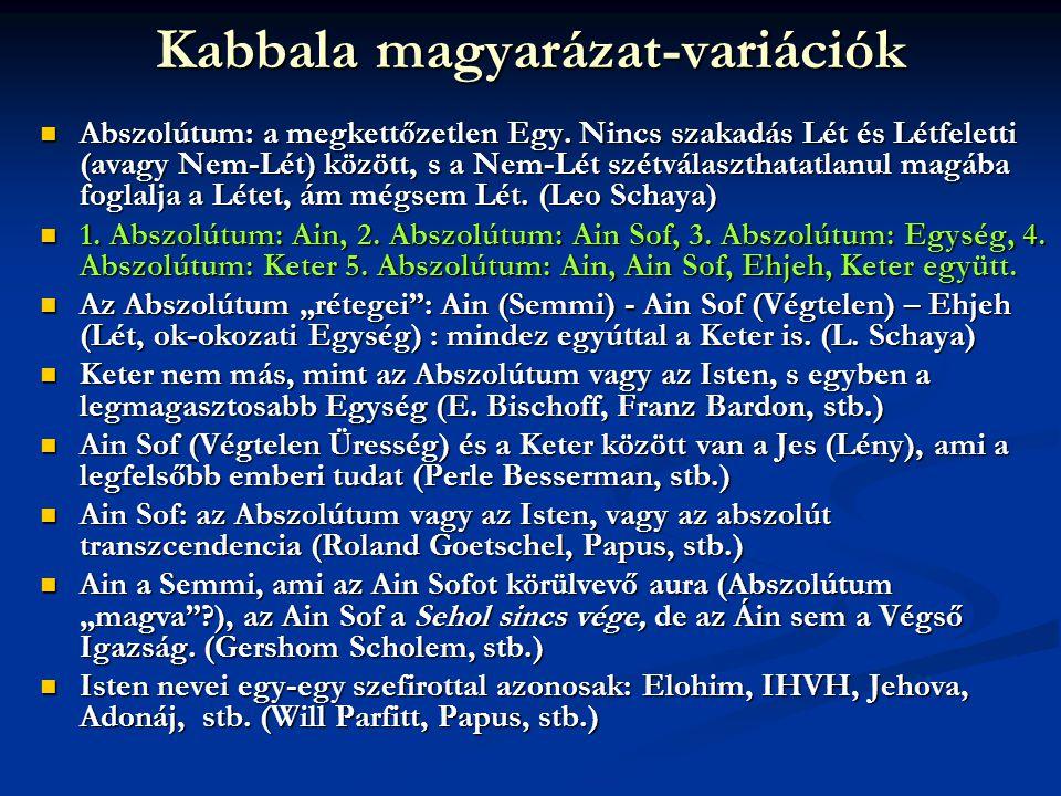 Kabbala magyarázat-variációk  Abszolútum: a megkettőzetlen Egy. Nincs szakadás Lét és Létfeletti (avagy Nem-Lét) között, s a Nem-Lét szétválaszthatat