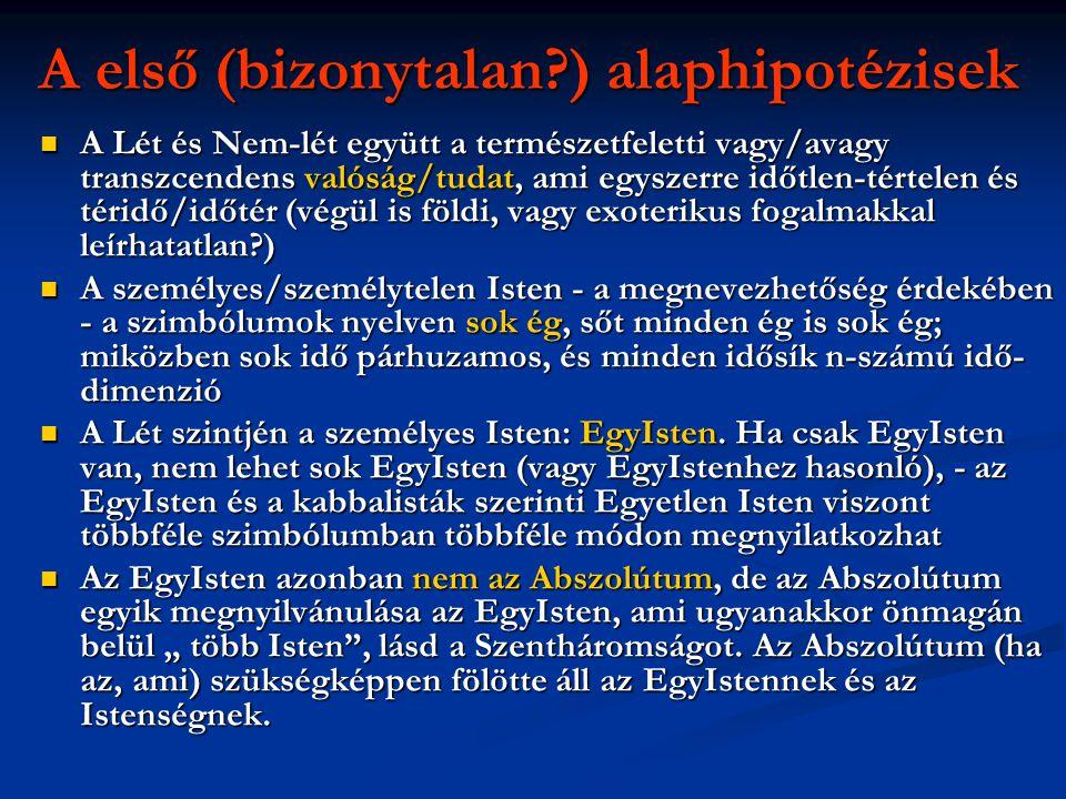 A első (bizonytalan?) alaphipotézisek  A Lét és Nem-lét együtt a természetfeletti vagy/avagy transzcendens valóság/tudat, ami egyszerre időtlen-térte