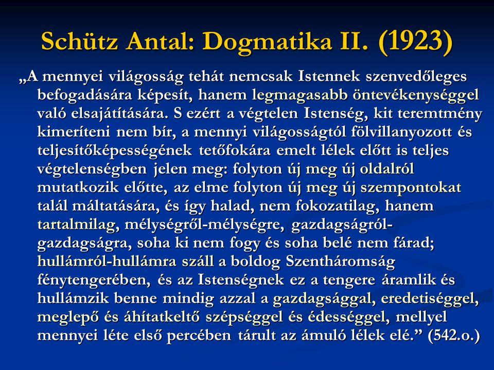 """Schütz Antal: Dogmatika II. (1923) """" A mennyei világosság tehát nemcsak Istennek szenvedőleges befogadására képesít, hanem legmagasabb öntevékenységge"""