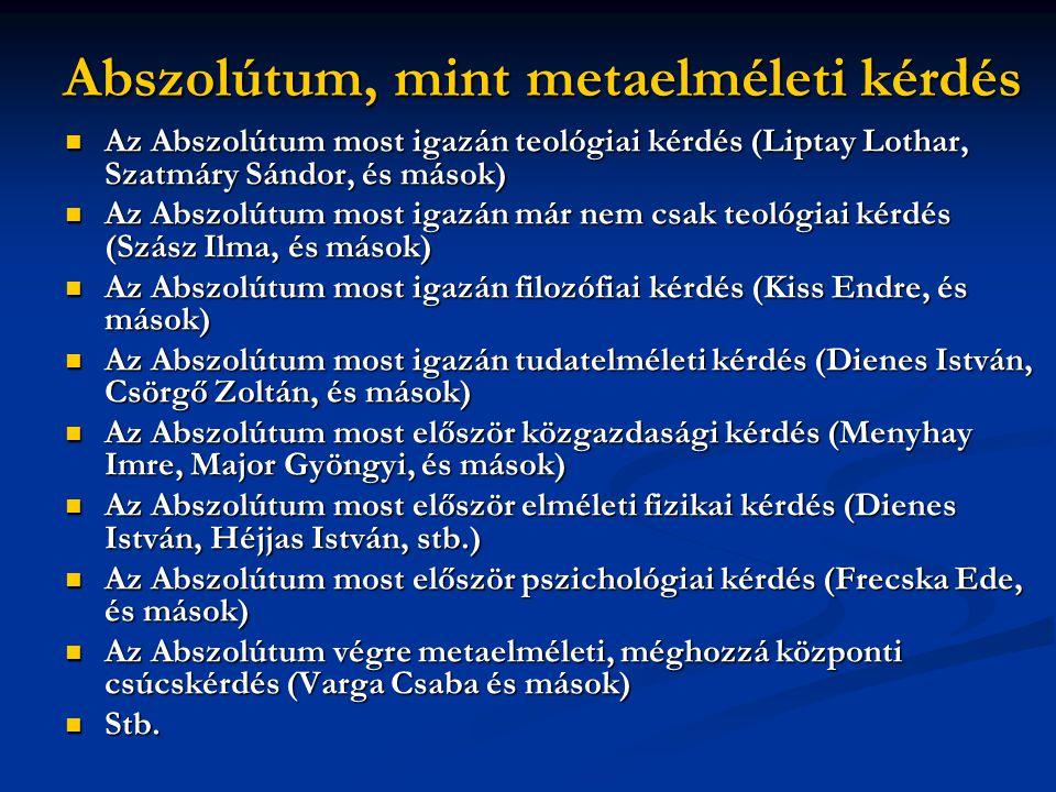 Abszolútum, mint metaelméleti kérdés  Az Abszolútum most igazán teológiai kérdés (Liptay Lothar, Szatmáry Sándor, és mások)  Az Abszolútum most igaz