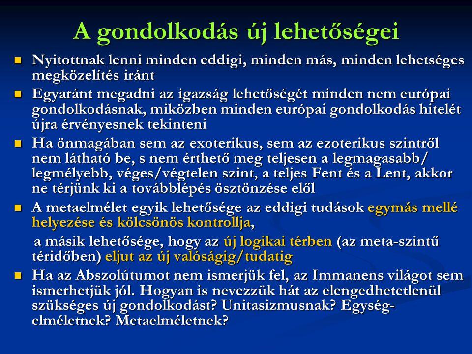 """A tévedés vagy az igazság lehetőségei  Szinte nincs olyan magas tudású, magas tudatállapotú gondolkodó, aki ismereteink szerint ne azt mondaná, hogy az Abszolútum (1) végtelen, (2) elérhetetlen, (3) felfoghatatlan, (4) érthetetlen, (5) kifejezhetetlen (exoterizmus – """"én és te – egy szúfi mondás szerint)  Mi van akkor, ha az emberi gondolkodás zöme (beleértve a misztikus """"megismerést is?) téved, mert az Abszolútum ugyanakkor (1) véges, (2) elérhető, (3) felfogható, (4) érthető, (5) kifejezhető (ezoterizmus – """"én te vagyok, te pedig én )  Vagy: egyszerre véges/végtelen, elérhető/ elérhetetlen, felfogható/ felfoghatatlan, érthető/ érthetetlen és kifejezhető/kifejezhetetlen, - és ehhez elég annyi változás a logikai térben, hogy nem igenekben és nemekben gondolkodunk (unitasizmus."""