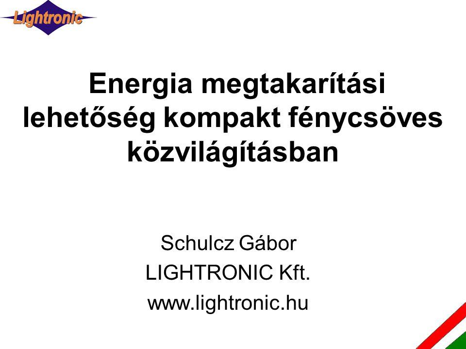 Energia megtakarítási lehetőség kompakt fénycsöves közvilágításban Schulcz Gábor LIGHTRONIC Kft. www.lightronic.hu