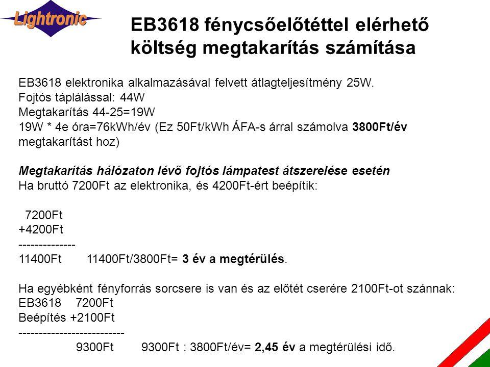 EB3618 elektronika alkalmazásával felvett átlagteljesítmény 25W. Fojtós táplálással: 44W Megtakarítás 44-25=19W 19W * 4e óra=76kWh/év (Ez 50Ft/kWh ÁFA
