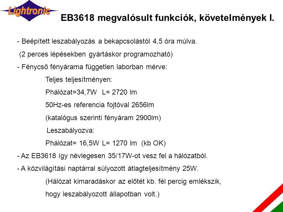 EB3618 megvalósult funkciók, követelmények I. - Beépített leszabályozás a bekapcsolástól 4,5 óra múlva. (2 perces lépésekben gyártáskor programozható)