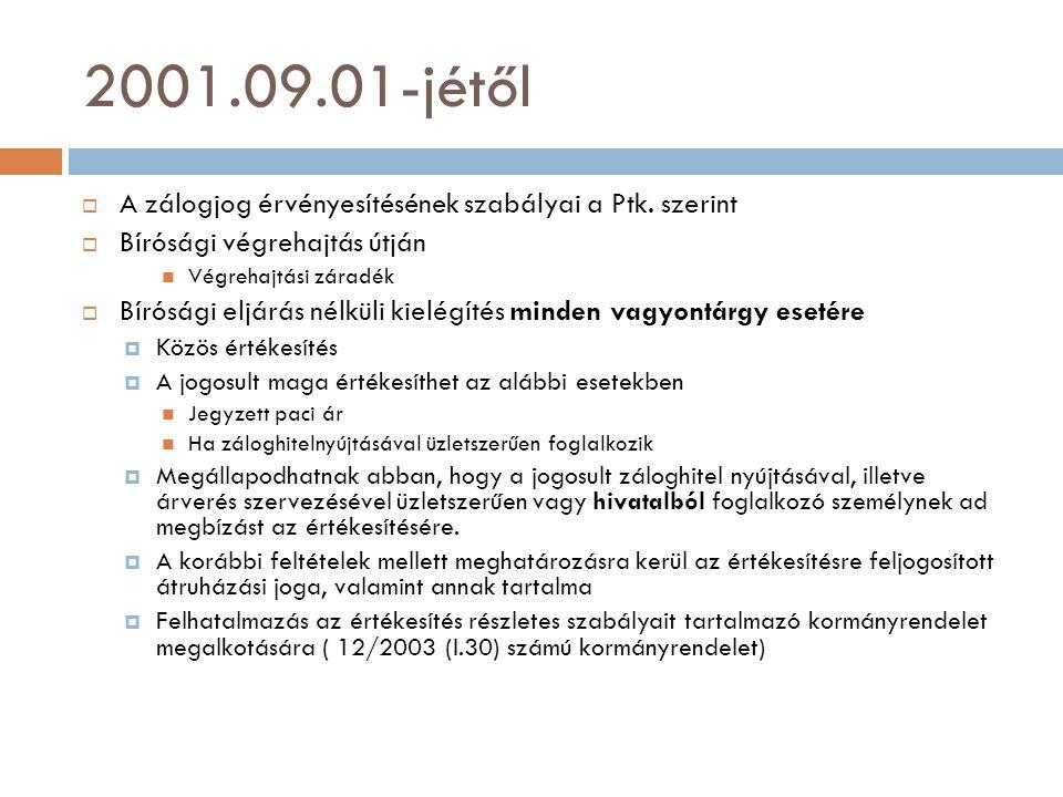2001.09.01-jétől  A zálogjog érvényesítésének szabályai a Ptk. szerint  Bírósági végrehajtás útján  Végrehajtási záradék  Bírósági eljárás nélküli
