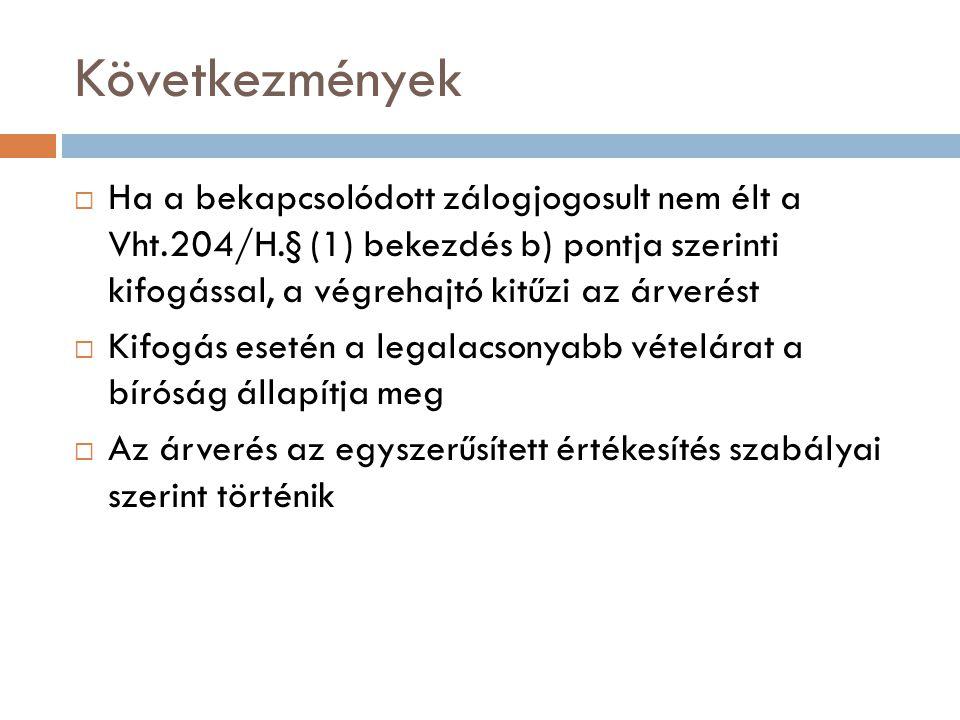 Következmények  Ha a bekapcsolódott zálogjogosult nem élt a Vht.204/H.§ (1) bekezdés b) pontja szerinti kifogással, a végrehajtó kitűzi az árverést 