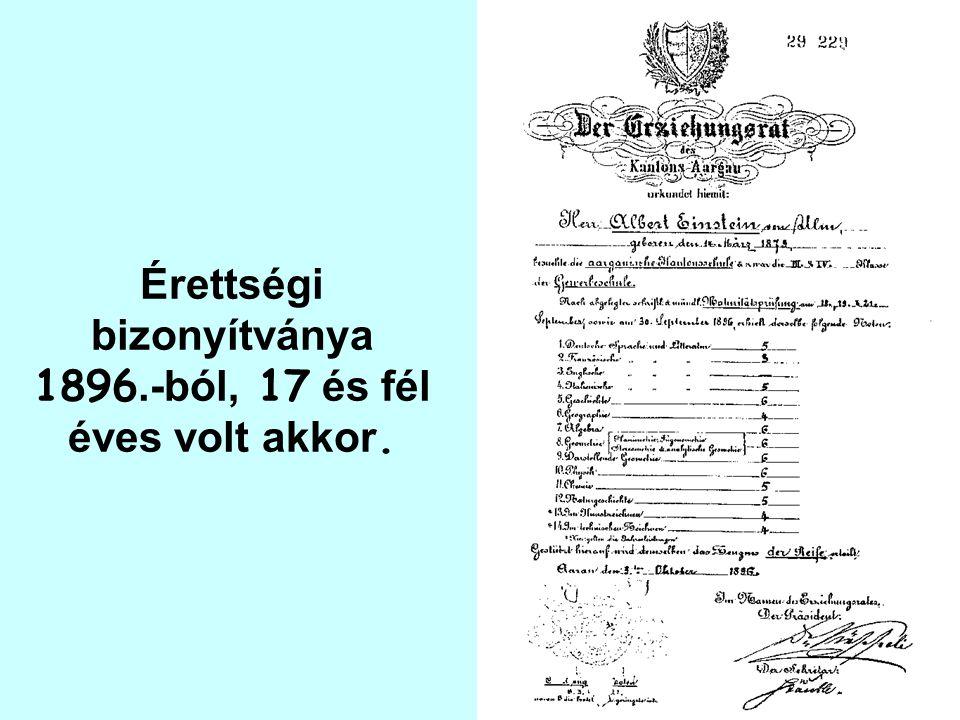 Érettségi bizonyítványa 1896.-ból, 17 és fél éves volt akkor.