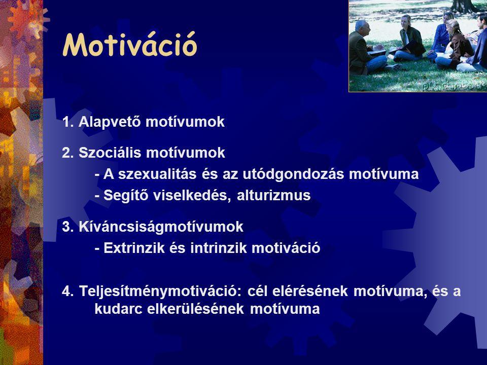 Motiváció 1. Alapvető motívumok 2. Szociális motívumok - A szexualitás és az utódgondozás motívuma - Segítő viselkedés, alturizmus 3. Kíváncsiságmotív